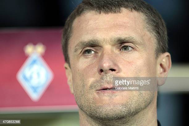 Sergei Rebrov manager of FC Dynamo Kyiv looks on during the UEFA Europa League Quarter Final match between ACF Fiorentina and FC Dynamo Kyiv on April...