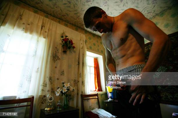 Sergei relaxes after shooting up in his groin with a local poppyseed derived drug with a street name of Shiva on August 17 2005 in Donetsk Ukraine...
