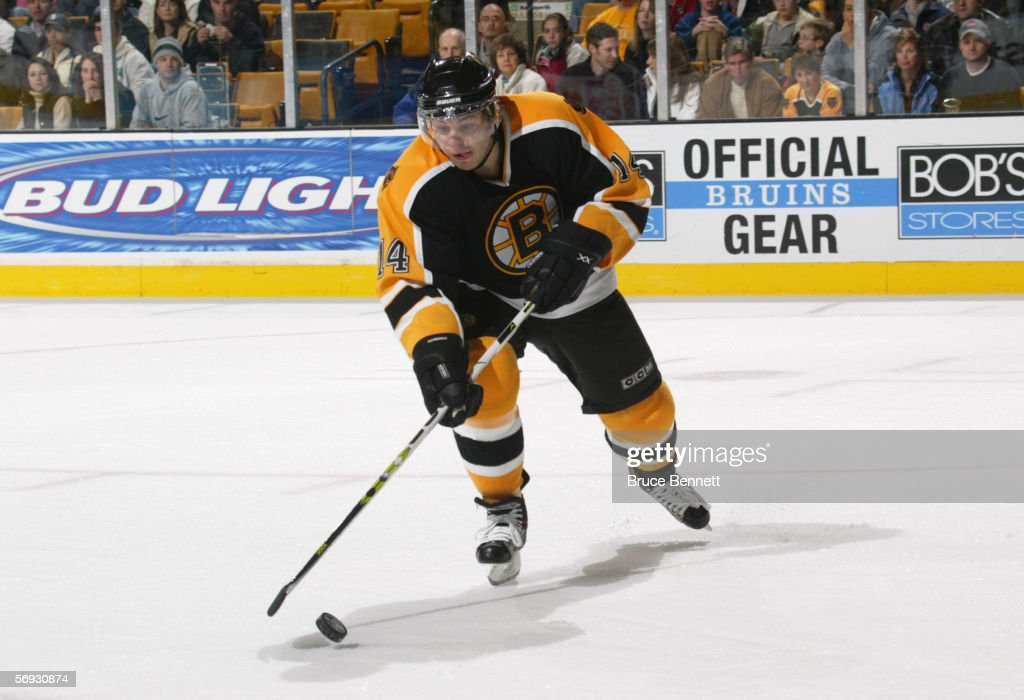 Sergei Samsonov #14 of the Boston Bruins skates with the puck against the Carolina Panthers on February 5, 2006 at TD Banknorth Garden in Boston, Massachusetts. The Hurricanes won 4-3 in a shootout.