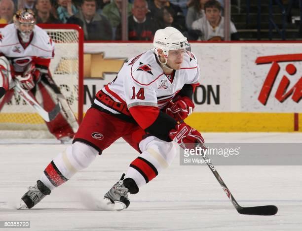 Sergei Samsonov of the Carolina Hurricanes skates against the Buffalo Sabres on March 14, 2008 at HSBC Arena in Buffalo, New York.