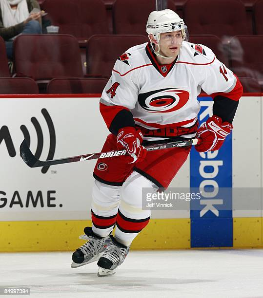 Sergei Samsonov of the Carolina Hurricanes skates up ice during their game against the Vancouver Canucks at General Motors Place on February 3 2009...