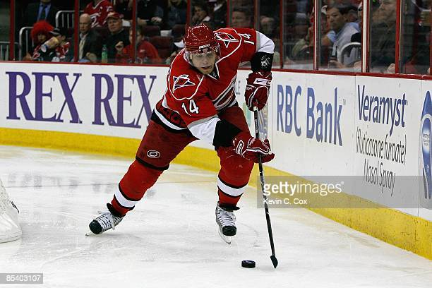 Sergei Samsonov of the Carolina Hurricanes skates with the puck during the game against the Tampa Bay Lightning on February 20, 2009 at RBC Center in...