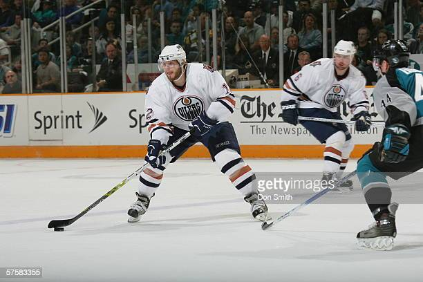 Sergei Samsonov of the Edmonton Oilers skates with the puck during Game 2 of the Western Conference Semifinals against the San Jose Sharks on May 8,...