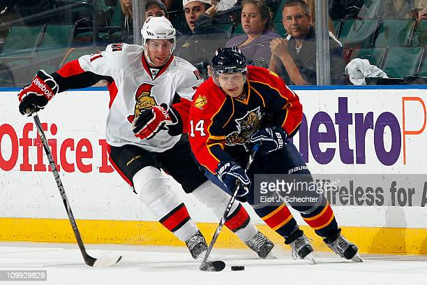 Sergei Samsonov of the Florida Panthers skates with the puck against Ryan Potulny of the Ottawa Senators at the BankAtlantic Center on March 10 2011...