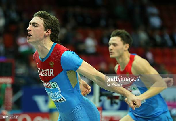 Sergei Shubenkov of Russia crosses the line to win gold in the Men's 60m Hurdles Final during day one of the European Athletics Indoor Championships...
