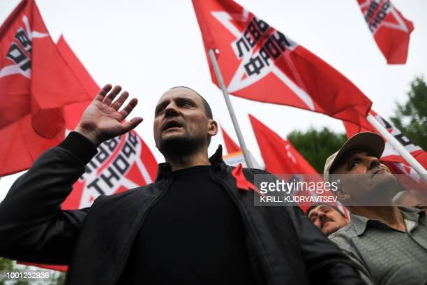 Sergei Udaltsov Russia's leftist antiKremlin group Left Front activist takes part in rally against pension reform in Moscow on July 18 2018 ahead of...