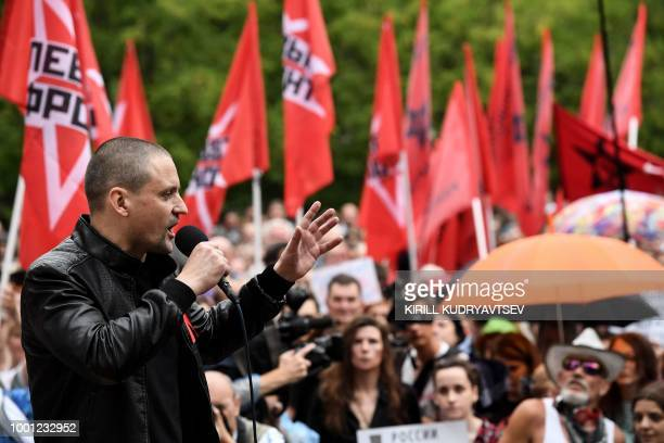 Sergei Udaltsov Russia's leftist antiKremlin group Left Front activist gives a speech as he takes part in rally against pension reform in Moscow on...