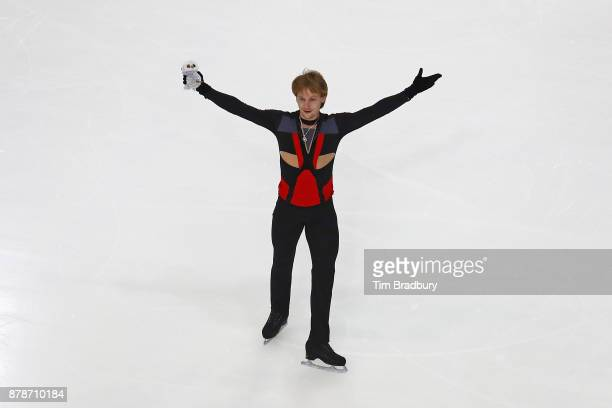 Sergei Voronov of Russia acknowledges the crowd after competing in the Men's Short Program during day one of 2017 Bridgestone Skate America at Herb...