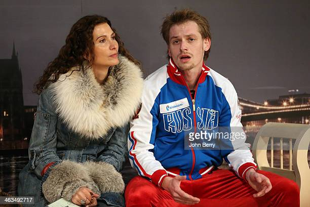 Sergei Voronov of Russia and his coach Eteri Tutberidze react to the results during the Men Free Skating event of the ISU European Figure Skating...