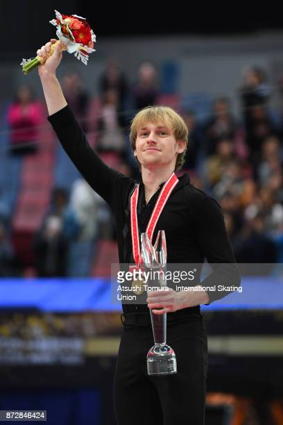 Sergei Voronov of Russia celebrates with his gold medal during the ISU Grand Prix of Figure Skating on November 11 2017 in Osaka Japan