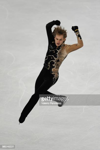 Sergei Voronov of Russia competes in the Men Free Skating during the 2010 ISU World Figure Skating Championships on March 25 2010 in Turin Italy