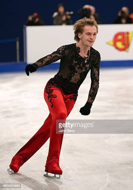 Sergei Voronov of Russia competes in the Men Free Skating event of the ISU European Figure Skating Championships 2014 held at the Syma Hall stadium...