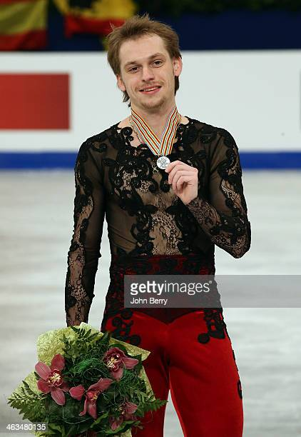 Sergei Voronov of Russia finishes second and wins the silver medal in the Men Skating event of the ISU European Figure Skating Championships 2014...