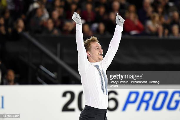 Sergei Voronov of Russia performs during the Men's Long Program on day 3 of the Grand Prix of Figure Skating at the Sears Centre Arena on October 23...