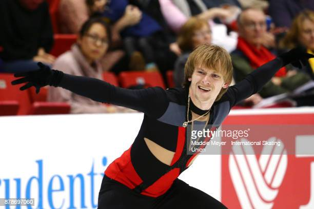 Sergei Voronov of Russia performs during the Mens Short program on Day 1 of the ISU Grand Prix of Figure Skating at Herb Brooks Arena on November 24...