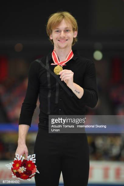 Sergei Voronov of Russia pose with his gold medal during the ISU Grand Prix of Figure Skating on November 11 2017 in Osaka Japan