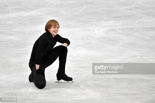 Sergei Voronov of Russia reacts after competing in the Men's Singles Free Skating during day two of the ISU Grand Prix of Figure Skating NHK Trophy...