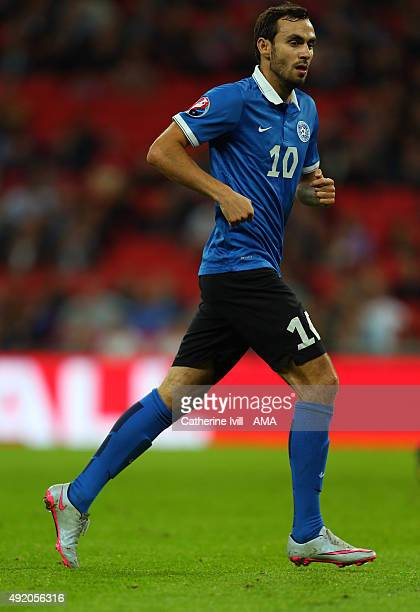 Sergei Zenjov of Estonia during the UEFA EURO 2016 Qualifier match between England and Estonia at Wembley Stadium on October 9 2015 in London United...