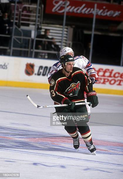 Sergei Zholtok of the Minnesota Wild skates on the ice during an NHL game against the New York Rangers on November 6 2001 at the Madison Square...