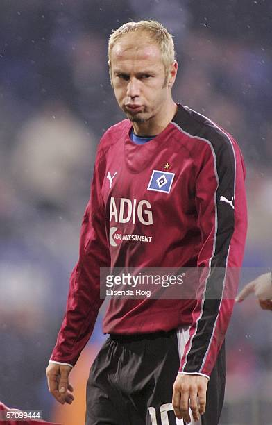 Sergej Baebarez of Hamburg looks dejected during the UEFA Cup Round of 16 second leg match between Hamburger SV and Rapid Bucharest at the AOL Arena...