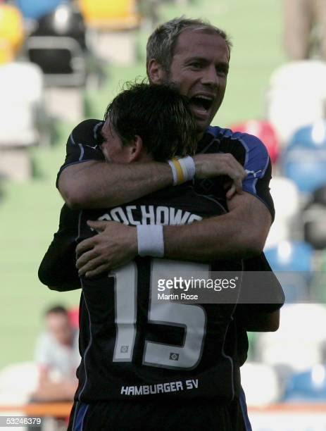 Sergej Barbarez and Piotr Trochowski of HSV celebrates scoring the first goal during the Intertoto Cup, third round match between DU Leiria and...