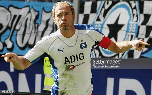 Sergej Barbarez of Hamburg celebrates scoring the third goal during the Bundesliga match between Hamburger SV and 1.FC Nuremberg at the AOL Arena on...