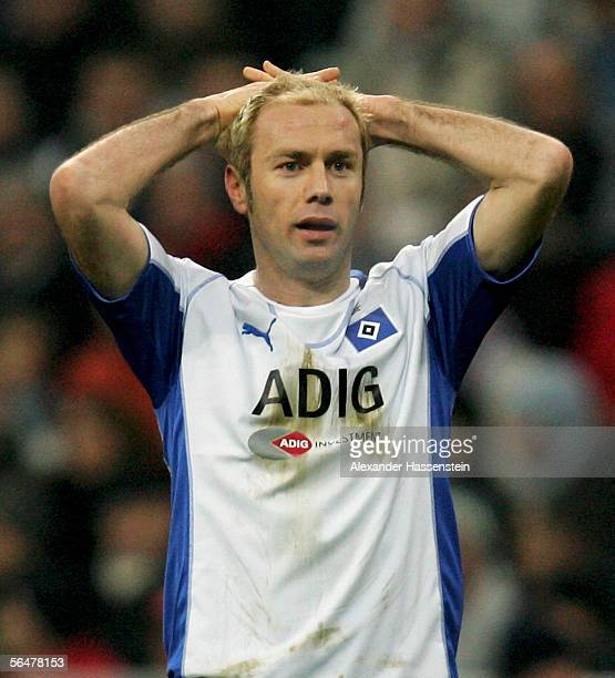 Sergej Barbarez of Hamburg reacts during the last sixteen match of the DFB German Cup between Bayern Munich and Hamburger SV at the Allianz Arena on...