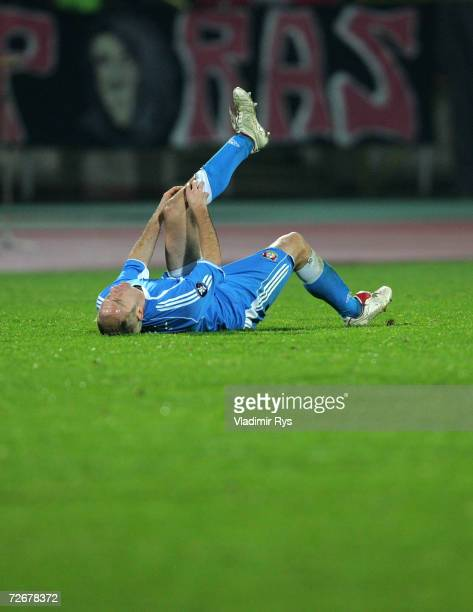 Sergej Barbarez of Leverusen lays the the ground during the UEFA Cup Group B match between Dinamo Bucharest and Bayer Leverkusen at the Dinamo...