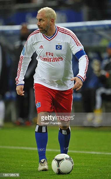 Sergej Barbarez of the HSV team in action during the charity Match Against Poverty between HSV Allstars v Ronaldo, Zidane & Friends at the Imtech...
