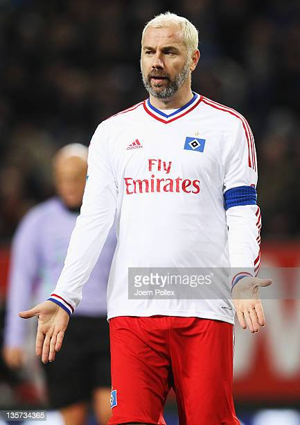 Sergej Barbarez of the team HSV Allstars gestures during the 'Match Against Poverty' match at Imtech Arena on December 13, 2011 in Hamburg, Germany.