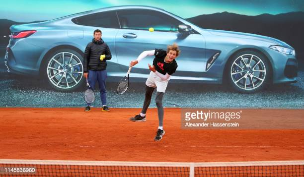 Sergej Bubka Junior attends a Alexander Zverev of Germany training session on day 3 of the BMW Open at MTTC IPHITOS on April 29 2019 in Munich Germany
