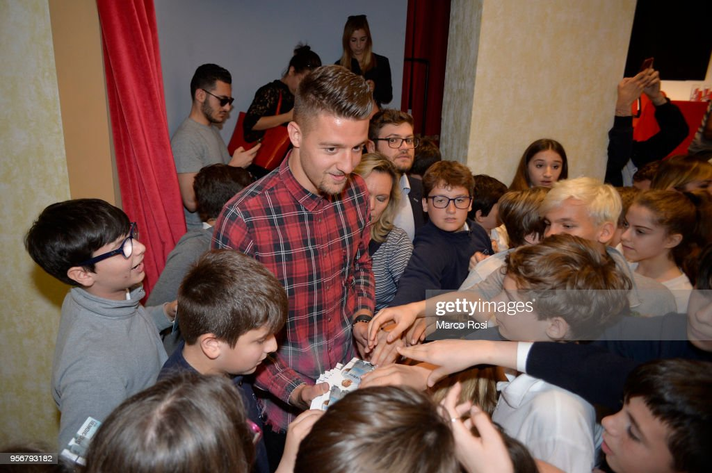 Sergej Milikovic Savic of SS Lazio meets students during a visit to Asisium school on May 10 not March 28 in Rome, Italy.