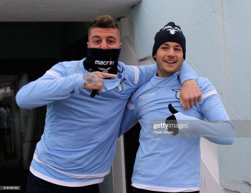 Sergej Milinkovic and Alessandro Murgia of SS Lazio react during the SS Lazio training session on February 14, 2018 in Rome, Italy.