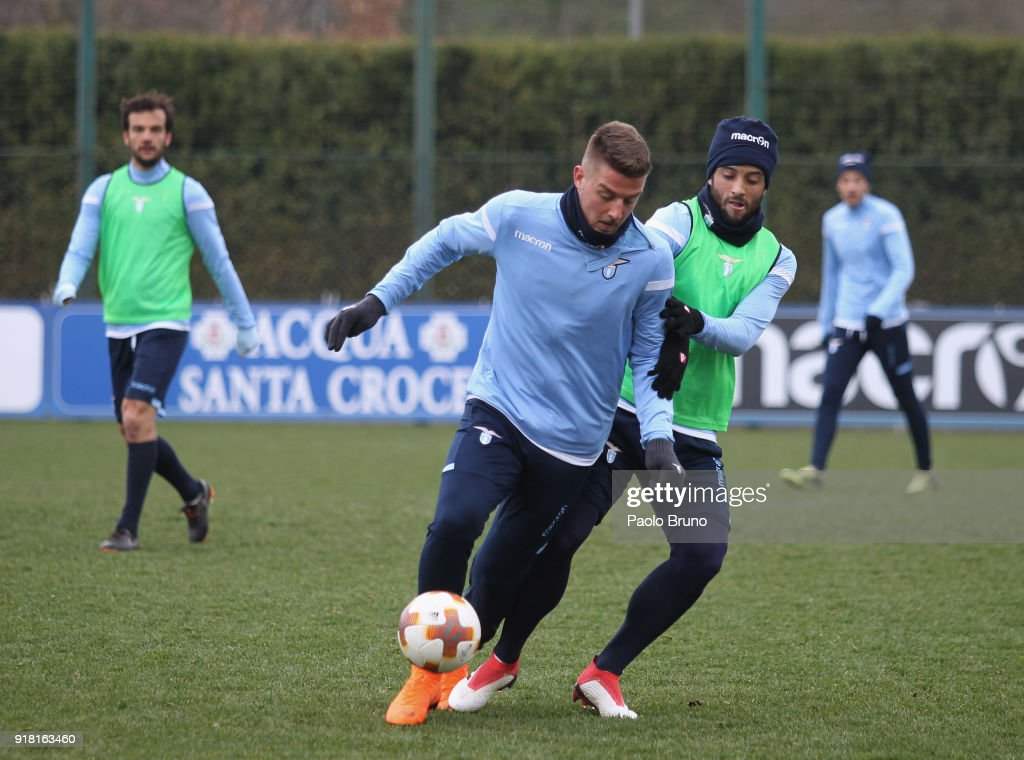 Sergej Milinkovic and Felipe Anderson of SS Lazio in action during the SS Lazio training session on February 14, 2018 in Rome, Italy.