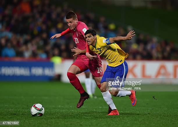 Sergej Milinkovic of Serbia battles with Danilo of Brazil during the FIFA U20 World Cup Final match between Brazil and Serbia at North Harbour...