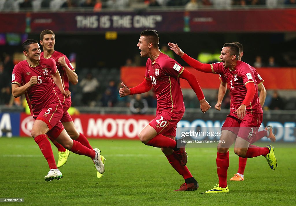 Sergej Milinkovic of Serbia celebrates with team mates after scoring a goal during the FIFA U-20 World Cup New Zealand 2015 Group D match between Serbia and Mali at Otago Stadium on June 3, 2015 in Dunedin, New Zealand.