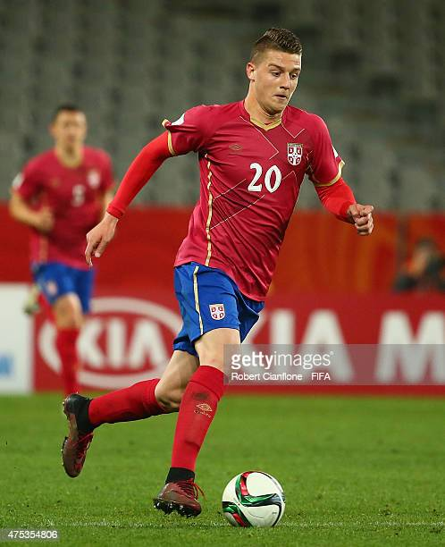 Sergej Milinkovic of Serbia runs with the ball during the FIFA U20 World Cup New Zealand 2015 Group D match between Uruguay and Serbia at Otago...