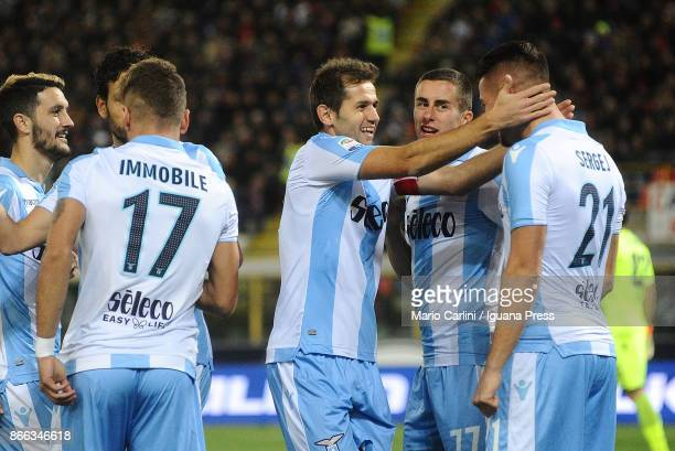 Sergej Milinkovic of SS Lazio celebrates after scoring the opening goal during the Serie A match between Bologna FC and SS Lazio at Stadio Renato...