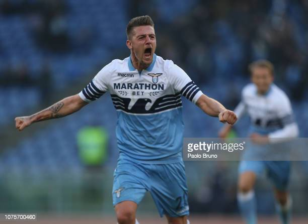 Sergej Milinkovic of SS Lazio celebrates after scoring the team's first goal during the Serie A match between SS Lazio and Torino FC at Stadio...