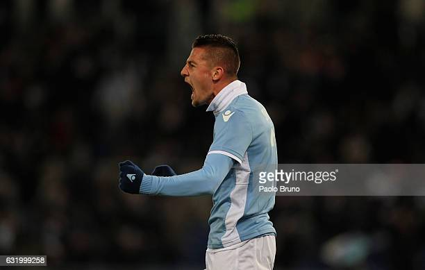 Sergej Milinkovic of SS lazio celebrates after scoring the team's third goal during the TIM Cup match between SS Lazio and Genoa CFC at Olimpico...