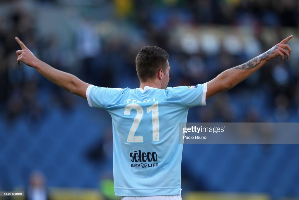 Sergej Milinkovic of SS Lazio celebrates after scoring the team's second goal during the Serie A match between SS Lazio and AC Chievo Verona at Stadio Olimpico on January 21, 2018 in Rome, Italy.