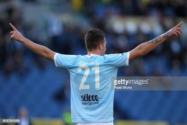 Sergej Milinkovic of SS Lazio celebrates after scoring the team's second goal during the Serie A match between SS Lazio and AC Chievo Verona at...