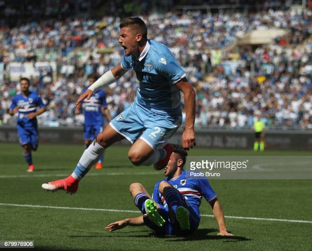 Sergej Milinkovic of SS Lazio competes for the ball with Vasco Regini of UC Sampdoria during the Serie A match between SS Lazio and UC Sampdoria at...
