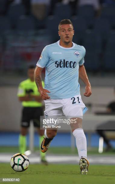 Sergej Milinkovic of SS Lazio in action during the Serie A match between SS Lazio and Spal at Olimpico Stadium on August 20 2017 in Rome Italy