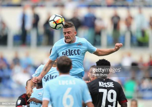 Sergej Milinkovic of SS Lazio in action during the Serie A match between SS Lazi o and AC Milan at Stadio Olimpico on September 10 2017 in Rome Italy