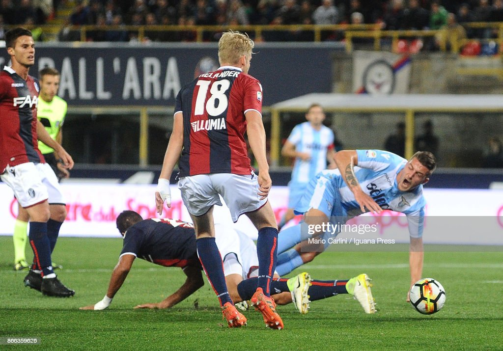 Sergej Milinkovic of SS Lazio is fouled into the penalty area during the Serie A match between Bologna FC and SS Lazio at Stadio Renato Dall'Ara on October 25, 2017 in Bologna, Italy.