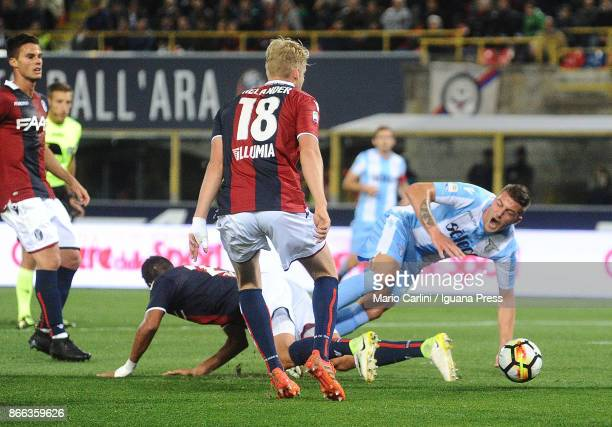 Sergej Milinkovic of SS Lazio is fouled into the penalty area during the Serie A match between Bologna FC and SS Lazio at Stadio Renato Dall'Ara on...