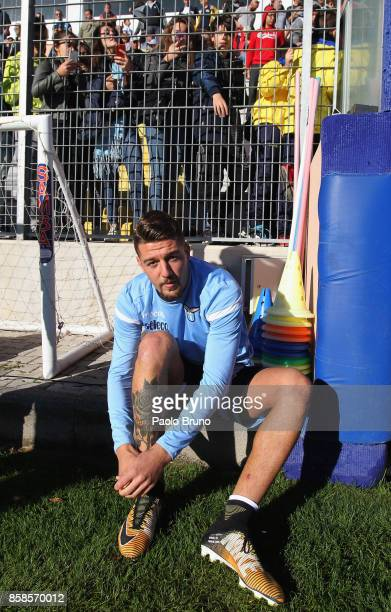 Sergej Milinkovic of SS Lazio looks on before the friendly match between SS Lazio and Real Rocca di Papa on October 7 2017 in Rome Italy