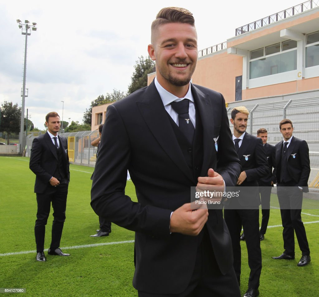 Sergej Milinkovic of SS Lazio looks on during the official team photo on September 26, 2017 in Rome, Italy.