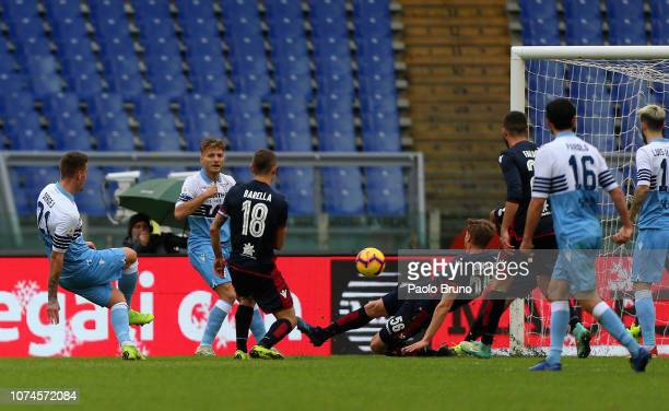 Sergej Milinkovic of SS Lazio scores the opening goal during the Serie A match between SS Lazio and Cagliari at Stadio Olimpico on December 22 2018...
